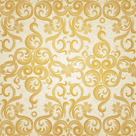 Vector seamless pattern in Victorian style. Element for design. Ornamental backdrop. Golden floral ornament on light background. Ornate decor for wallpaper. Endless texture. Deluxe pattern fill.