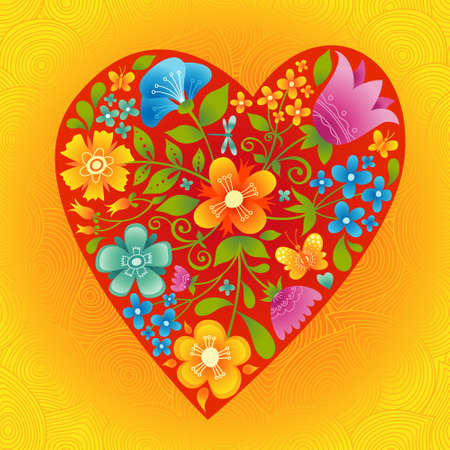 Large red heart with flowers on a bright seamless background. Romantic floral wallpaper. It can be used for decorating of wedding invitations, greeting cards, decoration for bags and clothes. Illustration