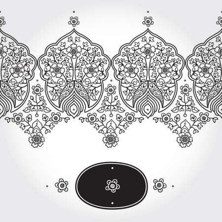 scrollwork: Vintage seamless border with lacy ornament. Floral frieze in east style. It can be used for decorating of wedding invitations, greeting cards, decoration for bags and clothing. Illustration
