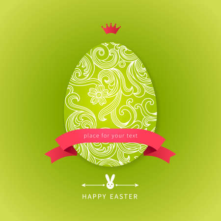 Easter egg with floral elements, ribbons, bunny and place for your text. Template for easter card. Vector Illustration. Easter rabbit. Vector bright spring pattern.