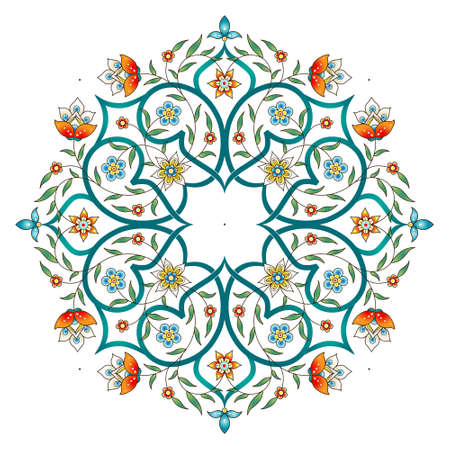 Raster version. Element, arabesque for design template. Premium ornament in Eastern style. Bright floral illustration. Ornate decor for invitation, greeting card, wallpaper, background, web page. Mandala.