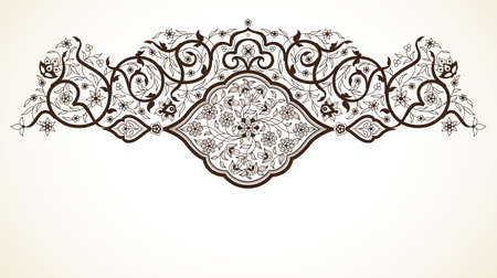 scrollwork: Line art decor; ornate vignette for design template. Eastern style element. Black outline floral decoration. Place for text. Monochrome illustration for invitation; card; coloring book; thank you message.