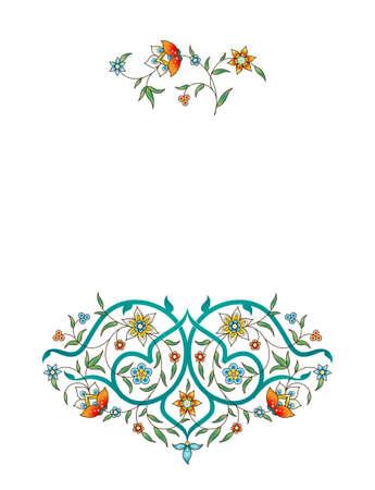 Raster version. Vintage decor; ornate vignette for design template. Eastern style element. Luxury floral decoration. Place for text. Ornamental illustration for invitation; card, labels, badges, tags.