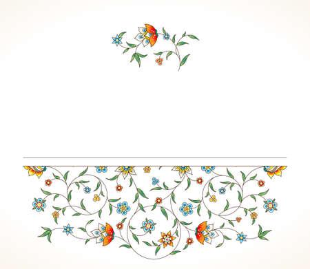 Version Raster Carte Vintage Cadre Fleuri Pour Le Modele De