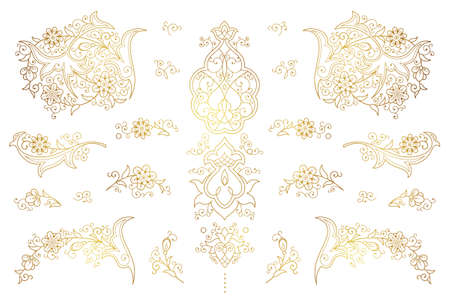 Vector set of golden outline elements, vignettes for design template. Luxury ornament in Eastern style. Premium floral illustration. Ornate decor for invitations, cards, thank you message, labels, badges, tags.