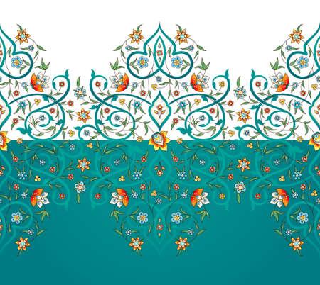 Raster version. Vintage decor; ornate seamless border for design template. Eastern style element. Premium floral decoration. Illustration for invitation, greeting card, wallpaper, web, background.