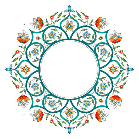 Raster version. Vintage decor; ornate round frame for design template. Eastern style element. Luxury floral decoration. Place for text.Ornamental illustration for invitation, greeting card, background. Stock Photo