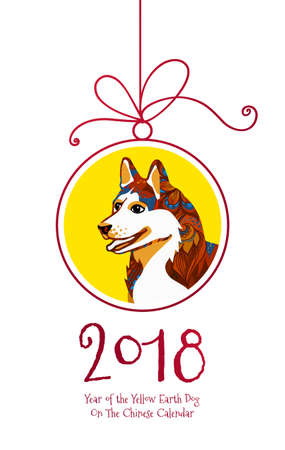 Vector card with a illustration of dog, symbol of 2018 on the Chinese calendar.