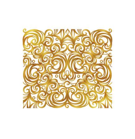 Vector vintage square decor; floral ornament for design template. Victorian style gold element. Rococo decoration. Arabic golden motifs. Ornamental swirl illustration for invitation, greeting card.