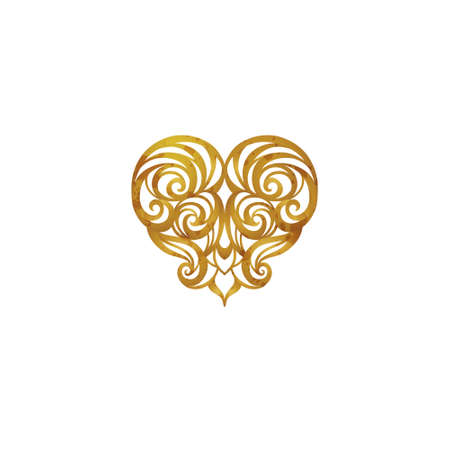 Ornate vintage vector heart in Victorian style. Element for logo design in shape of heart. Floral swirl illustration for invitations, greeting or Valentines cards.Rococo decor. Baroque golden motifs. Stock Photo