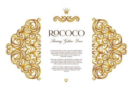 Vector vintage decor; sierlijke floral sieraad voor ontwerpsjabloon. Victoriaanse stijl gouden element. Rococo-decoratie. Arabische gouden motieven. Sierwervelingsillustratie voor uitnodiging, groetkaart.