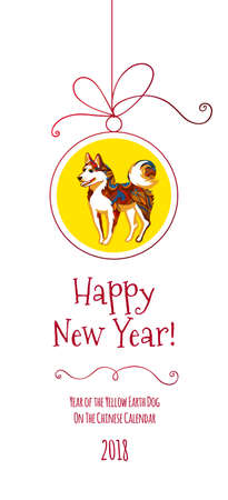 Vector banner with an illustration of a dog, symbol of 2018 on the Chinese calendar for the new year