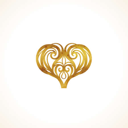 Ornate vintage vector heart in Victorian style