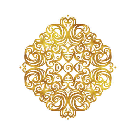 Vector vintage decor; ornate floral ornament for design template. Victorian style gold element. Rococo decoration. Arabic golden motifs. Ornamental swirl illustration for invitation, greeting card.