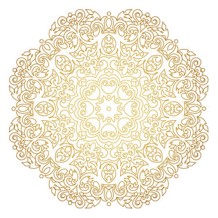 Vector vintage gold ornate decor for design template. Victorian style round element. Golden outline floral decoration. Luxury motifs. Ornamental illustration for invitation, greeting card. Mandala Illustration