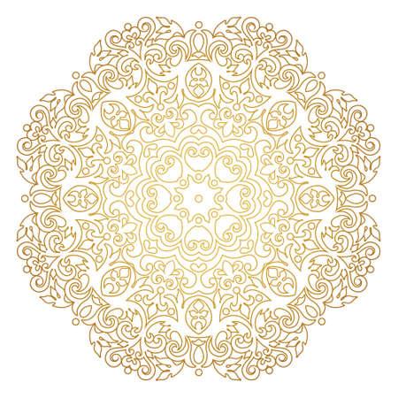 Vector vintage gold ornate decor for design template. Victorian style round element. Golden outline floral decoration. Luxury motifs. Ornamental illustration for invitation, greeting card. Mandala Stock Illustratie