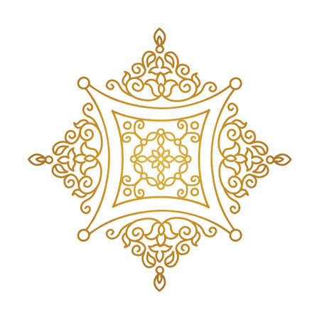 Vector vintage gold ornate decor for design template. Eastern style square element. Golden outline floral decoration. Luxury motifs. Ornamental illustration for invitation, greeting card.