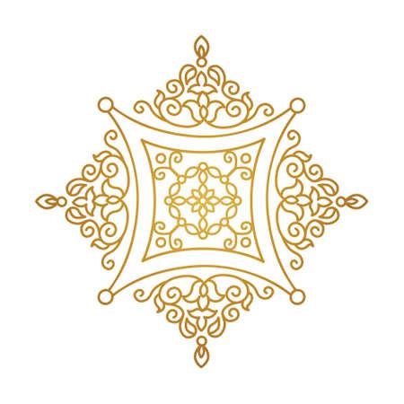Vector vintage gold ornate decor for design template. Eastern style square element. Golden outline floral decoration. Luxury motifs. Ornamental illustration for invitation, greeting card.