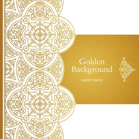 Vector vintage seamless border for design template. Eastern style element. Golden outline floral decor. Luxury illustration for invitations, greeting card, wallpaper, web, background. Vettoriali