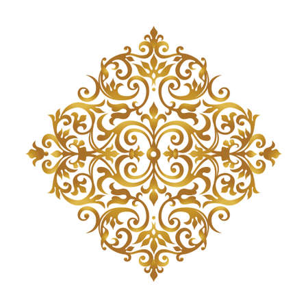 Raster version. Vintage pattern in Victorian style. Ornate element for design. Ornament pattern for wedding invitations, birthday and greeting cards. Traditional golden decor. Mandala.