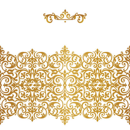 Raster version. Ornate seamless border in Victorian style.Gorgeous element for design, place for text. Ornamental vintage pattern for invitations, birthday and greeting cards.Traditional golden decor. Stock Photo