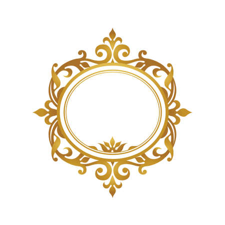 Raster version. Decorative frame in Victorian style. Elegant element for design, place for text. Golden  floral border. Lace decor for wedding invitations, valentines and greeting cards.