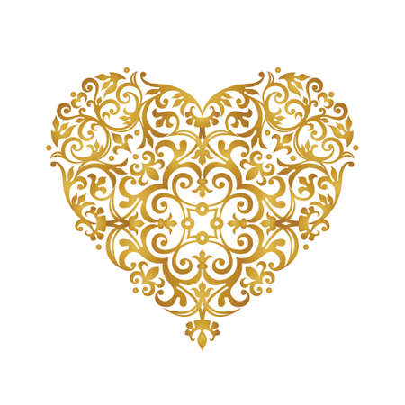 Raster version. Ornate heart in Victorian style. Elegant element for logo design, place for text. Lace floral illustration for invitations, cards, Valentines cards. Golden luxury illustration.