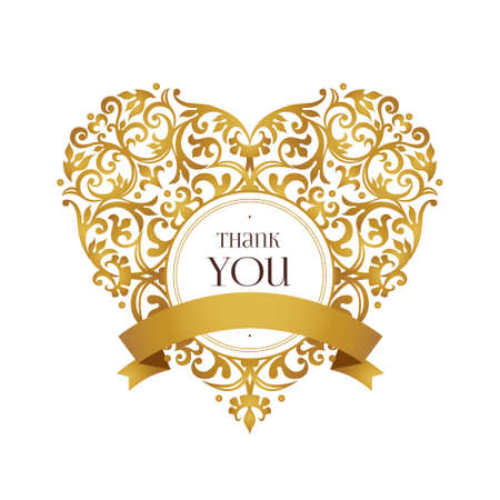 Raster version. Ornate heart in Victorian style. Elegant element for logo design, place for text. Golden floral illustration for invitations, greeting cards, Valentines cards. Thank you message.