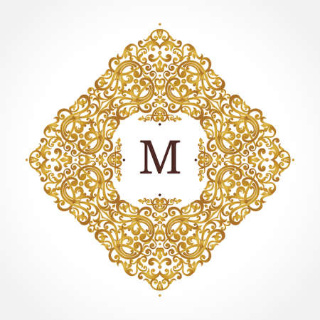 Raster version. Golden frame in Victorian style. Ornate element for design. Place for company name. Ornament floral vignette for business card, invitations, logo template, monogram. Stock Photo