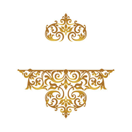Raster Version. Lace pattern in Victorian style on scroll work background. Ornate element for design. Place for text. Ornament for wedding invitations, birthday and greeting cards. Golden decor.