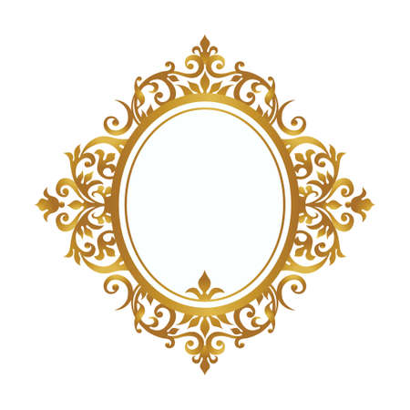 Raster version. Decorative frame in Victorian style. Elegant element for design, place for text. Golden floral border. Lace decor for wedding invitations, valentines, birthday and greeting cards. Stock Photo