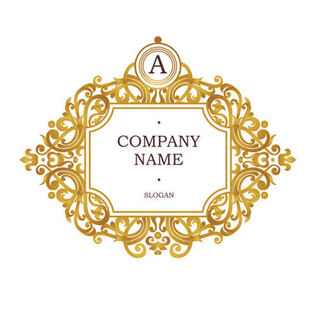 Raster version. Golden frame in Victorian style. Ornate element for design. Place for company name and slogan. Ornament floral vignette for business card, invitations, logo template, monogram.