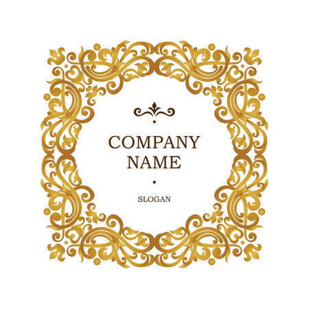 Raster version. Golden frame in Victorian style. Ornate element for design. Place for company name and slogan. Ornament floral vignette for business card, invitations,  logo template.