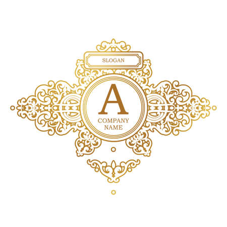 Raster version. Logo template in Victorian style. Ornate element for design. Place for company name and slogan. Ornament floral vignette for business card, wedding invitations, certificate, business sign.