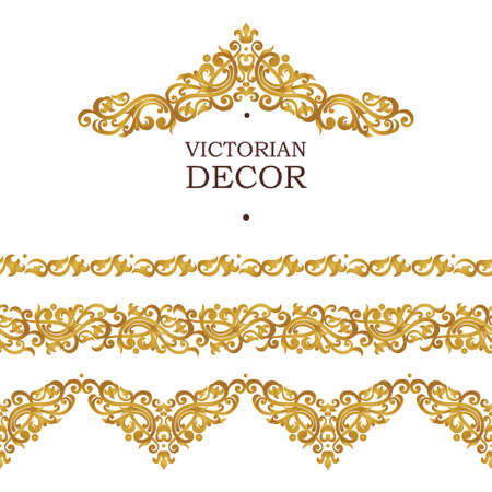 Raster version. Ornate seamless borders in Victorian style. Element for design, place for text. Ornamental vintage pattern for invitations, birthday and greeting cards. Traditional golden decor.