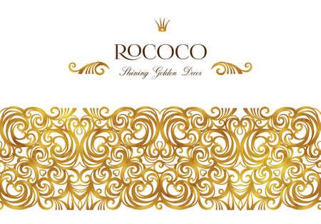 Vector vintage decor; ornate floral seamless border for design template. Victorian style gold element. Rococo decoration. Arabic golden motifs. Ornamental illustration for invitation, greeting card.
