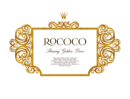 Vector vintage frame; ornate floral vignette for design template. Victorian style gold element. Rococo decoration. Arabic golden motifs. Ornamental swirl illustration for invitation, greeting card.