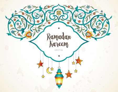 Vector Ramadan Kareem cards. Vintage lanterns for Ramadan wishing. Arabic shining lamps. Decor in Eastern style. Islamic background. Cards for Muslim feast of the holy of Ramadan month.