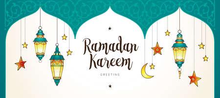 Cartes de Ramadan Kareem. Bannière vintage avec des lanternes pour le Ramadan souhaitant. Lampes brillantes arabes. Décor de style oriental. Contexte islamique. Cartes pour la fête musulmane du mois sacré du Ramadan. Vecteurs