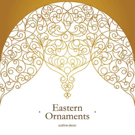 Vector vintage decor for design template. Eastern style element. Golden outline floral decor. Luxury illustration for invitations, greeting card, wallpaper, web, background. Illustration