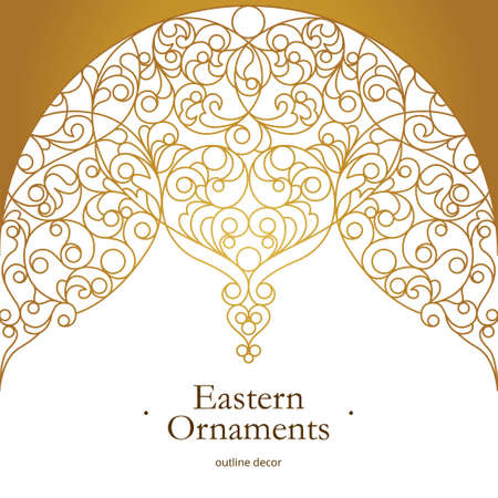 Vector vintage decor for design template. Eastern style element. Golden outline floral decor. Luxury illustration for invitations, greeting card, wallpaper, web, background. Ilustracja