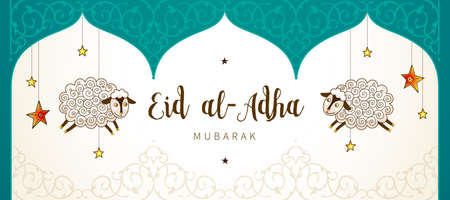 Vector muslim holiday Eid al-Adha card. Banner with sheeps, calligraphy for happy sacrifice celebration. Islamic greeting illustration. Traditional holiday. Decoration in Eastern style.