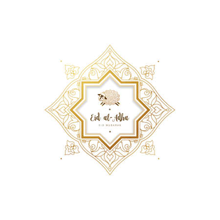 Vector muslim holiday Eid al-Adha card. Banner with sheep, golden outline frame, calligraphy for happy sacrifice celebration. Islamic illustration. Traditional holiday. Decoration in Eastern style. Vector Illustration