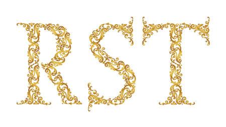 Lettres de type police or R, S, T, majuscules. Élément baroque de vecteur d'alphabet vintage doré fabriqué à partir de boucles et de motifs floraux. Isolé sur fond blanc. Élément ABC victorien en vecteur. Vecteurs