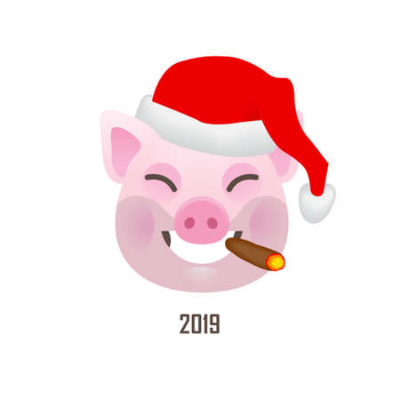 Vector banner with a illustration of smiling cartoon pig, symbol of 2019 on the Chinese calendar in red Santa Claus hat. Isolated on white backdrop. Element for New Year's design.