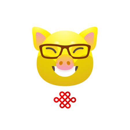 Vector banner with a illustration of smiling kawaii pig, symbol of 2019 on the Chinese calendar on white backdrop. Yellow Earthy Pig. Element for New Year's design. Used for advertising, greetings.