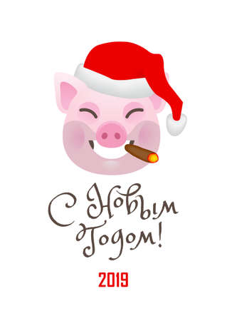 Vector banner with a illustration of smiling cartoon porky, symbol of 2019 on the Chinese calendar in red Santa Claus hat. Isolated on white backdrop. Element for New Year's design. Translation From Russian: Happy New Year.