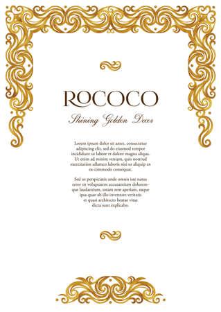 Vector vintage frame; ornate floral vignette for design certificate template. Victorian style gold border. Arabic golden motifs. Ornamental decoration for booklet, card, leaflet, flyer, layout.