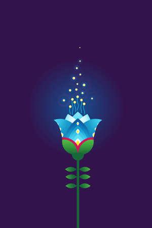 Blue vector flower. Psychedelic illustration t-shirt design. Acid color decor; floral ornament for flat design. Eastern style element. Arabic motifs. Decoration for cover, poster, flyer, card.