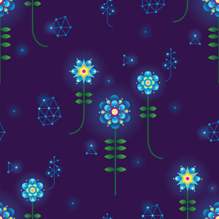 Vector seamless pattern. Abstract polygonal purple background with flowers, connecting dots, lines. Luminous actual structure. Fluorescence drops. Neon color. Repeating texture. Elegant surface.